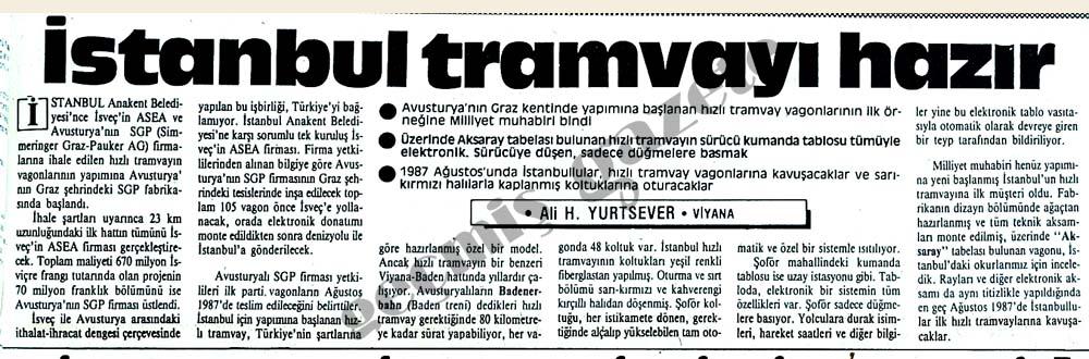 İstanbul tramvayı hazır
