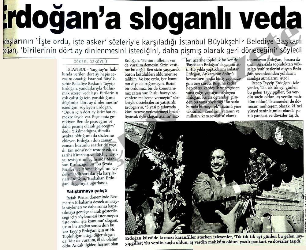 Erdoğan'a sloganlı veda