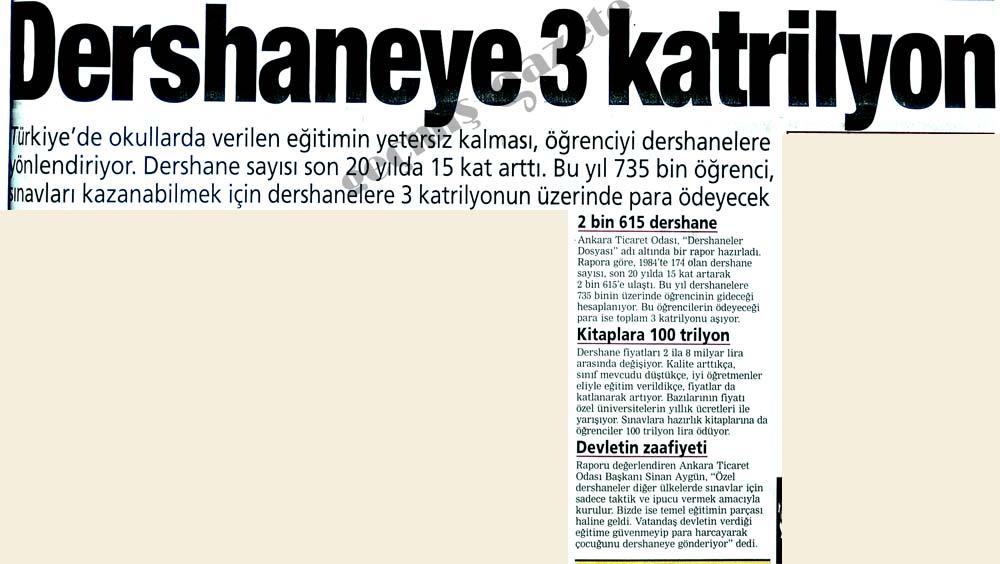 Dershaneye 3 katrilyon