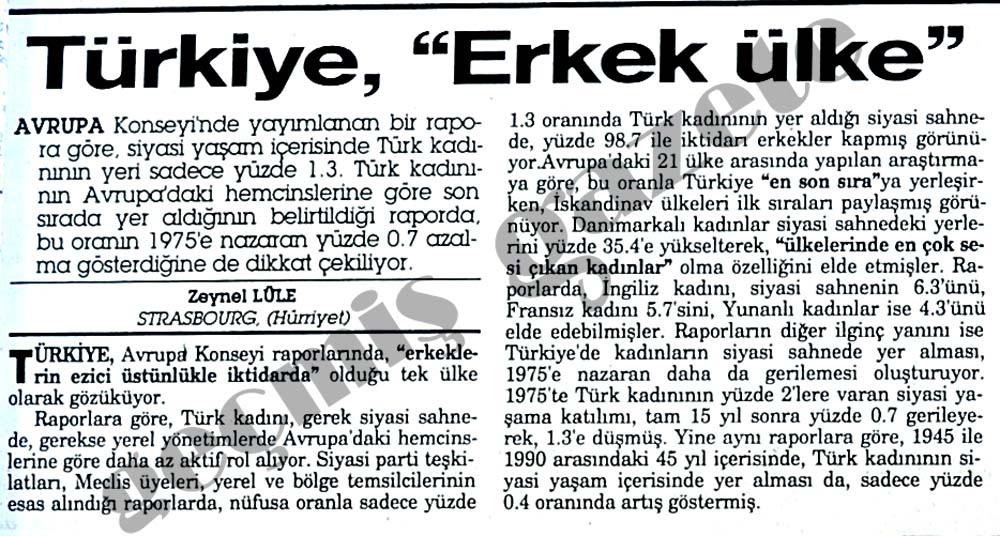 """Türkiye, """" Erkek ülke"""""""