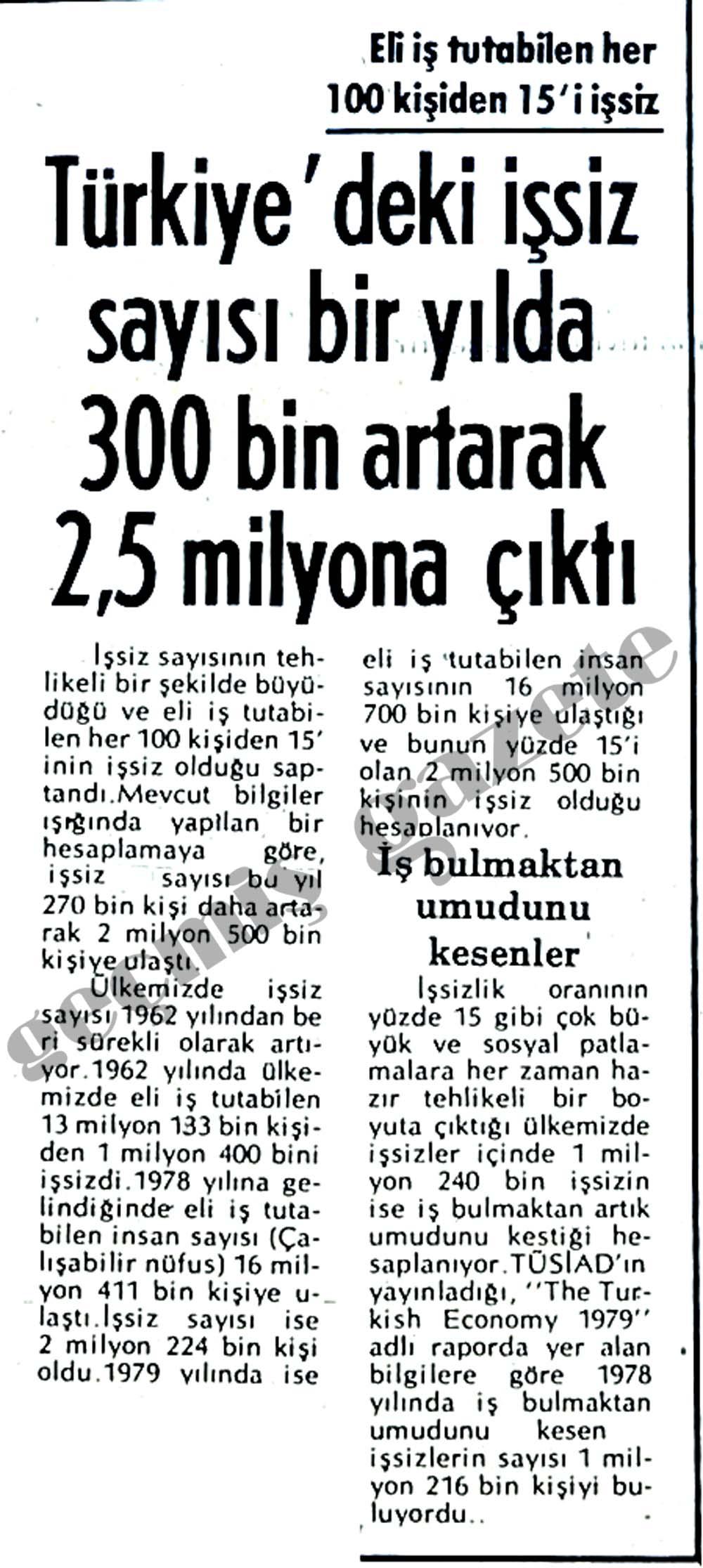 Türkiye'deki işsiz sayısı bir yılda 300 bin artarak 2.5 milyona çıktı
