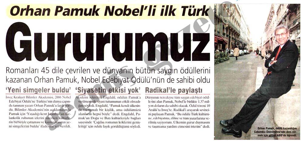Orhan Pamuk Nobel'li ilk Türk