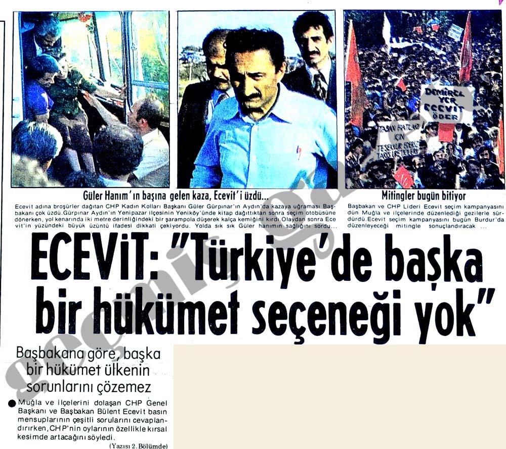 """Ecevit: """"Türkiye'de başka hükümet seçeneği yok"""""""