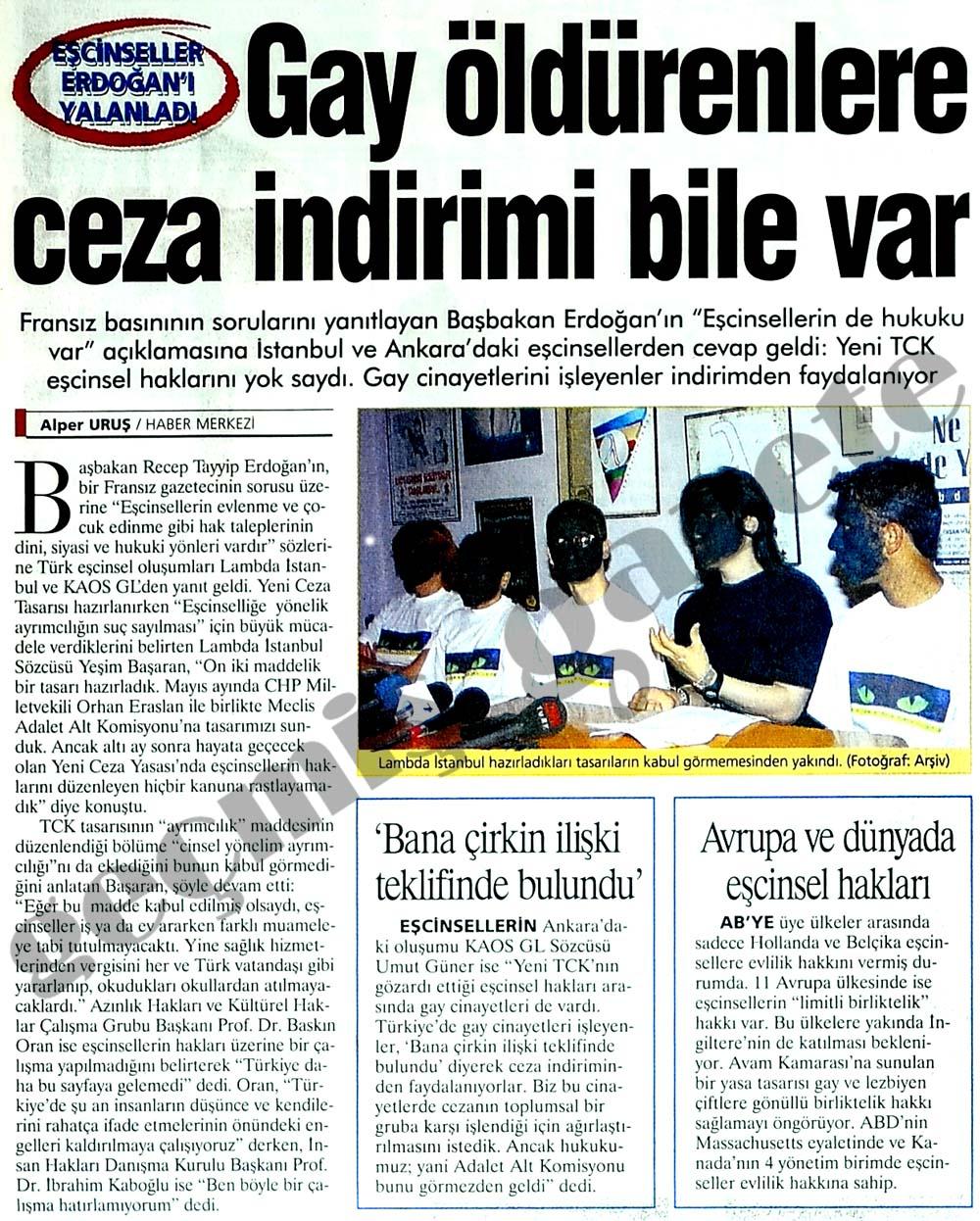 Eşcinseller Erdoğan'ı yalanladı