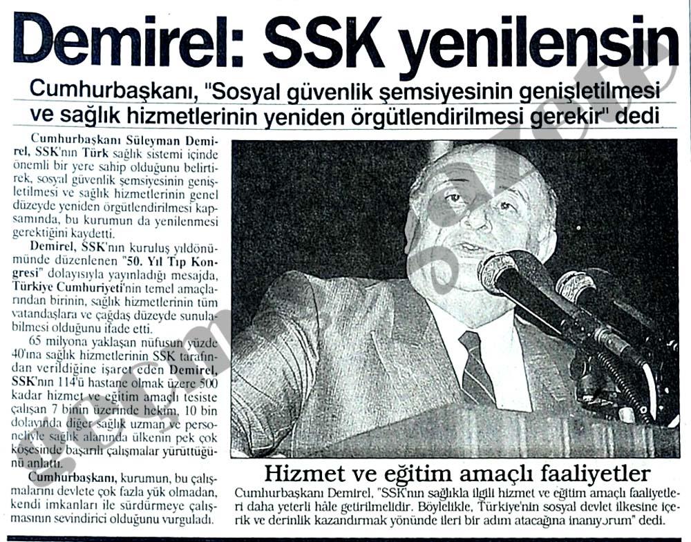 Demirel: SSK yenilensin