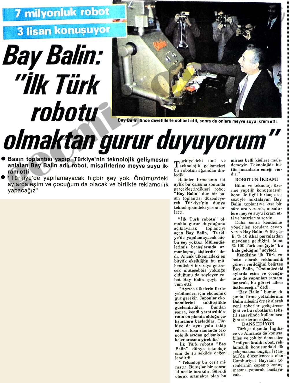 """""""İlk Türk robotu olmaktan gurur duyuyorum"""""""