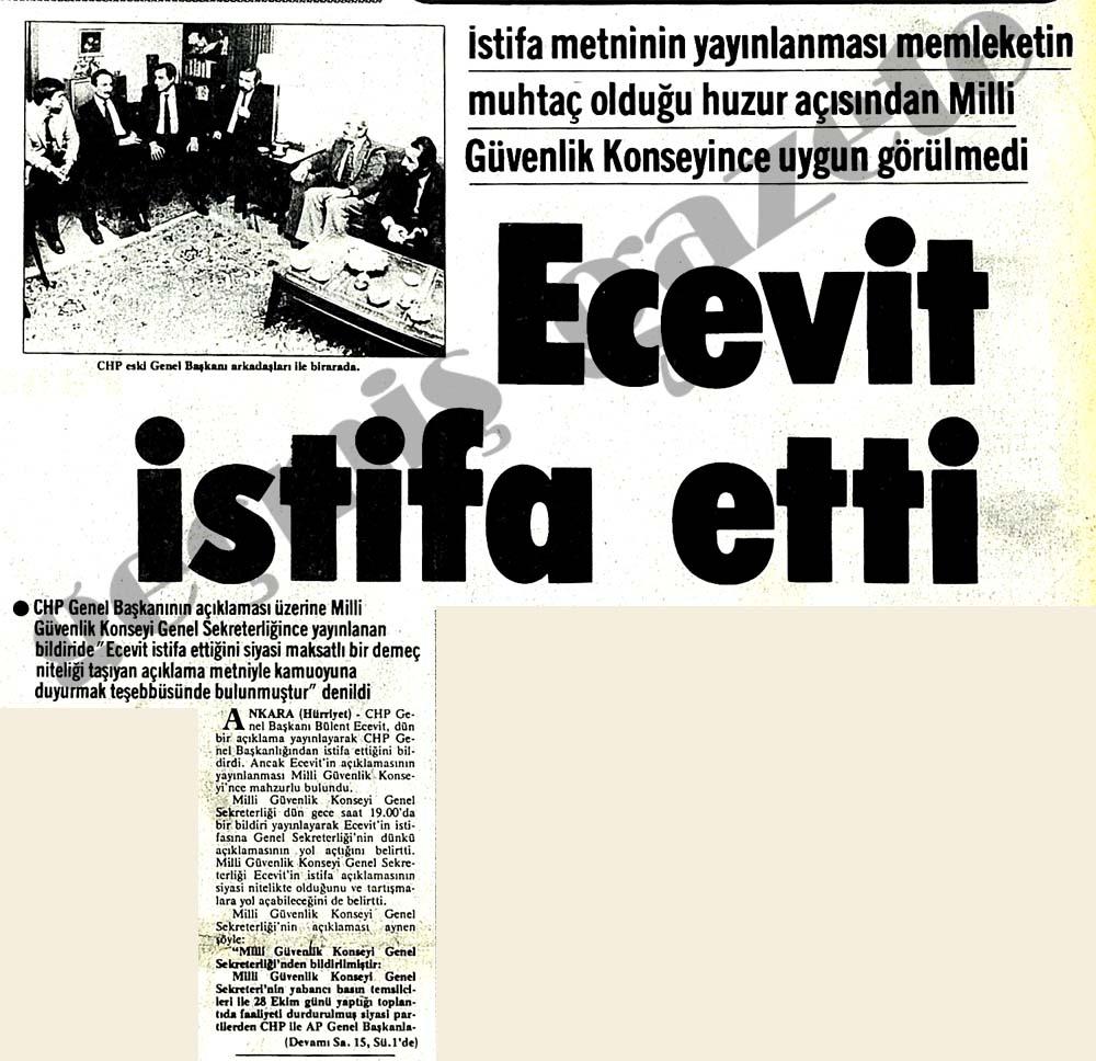 Ecevit istifa etti
