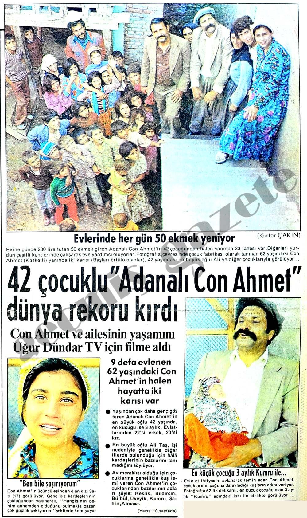 """42 çocuklu """"Adanalı Con Ahmet"""" dünya rekoru kırdı"""
