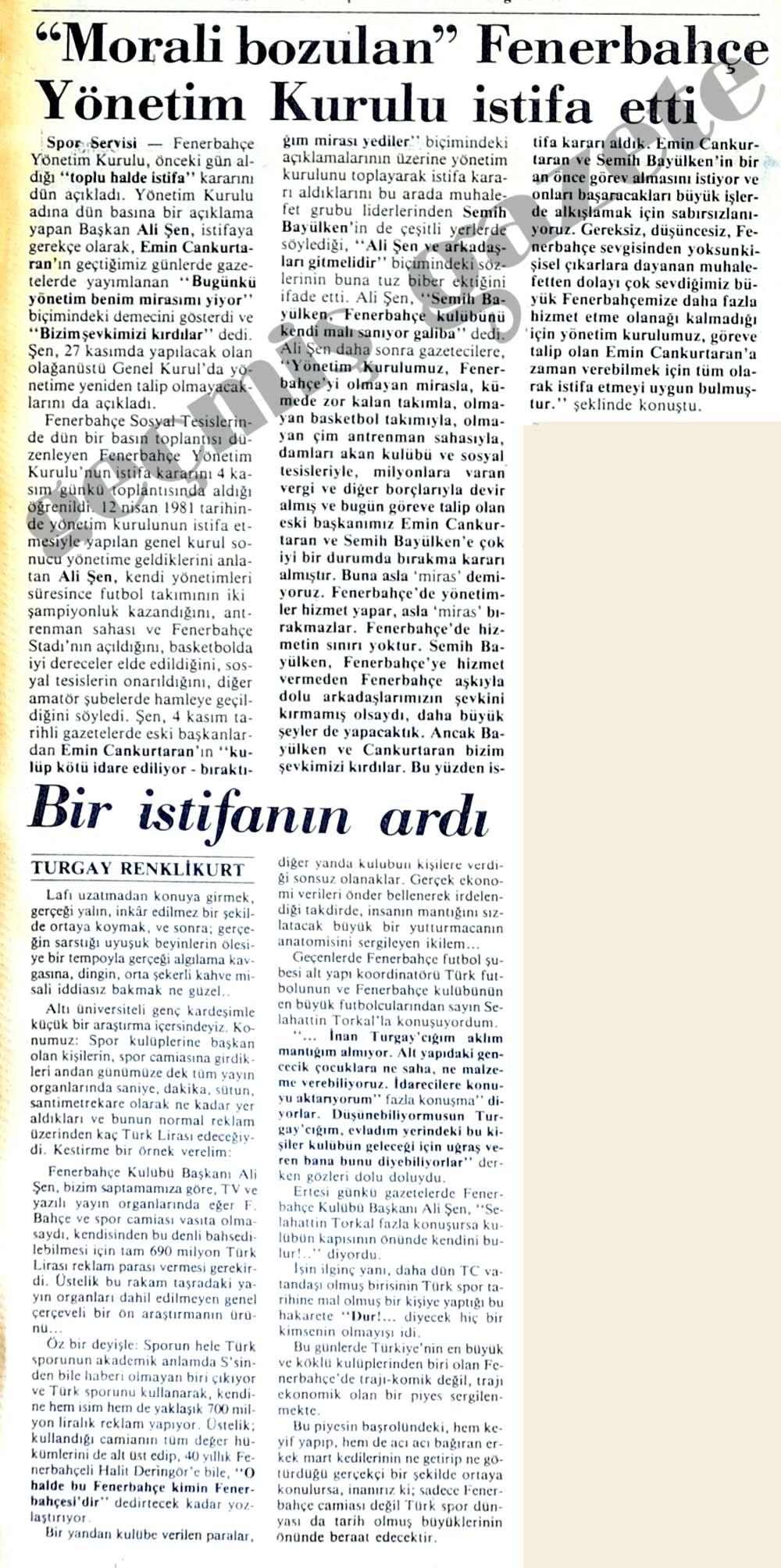 """""""Morali bozulan"""" Fenerbahçe Yönetim Kurulu istifa etti"""
