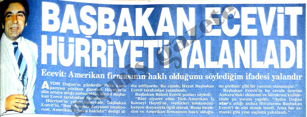 Başbakan Ecevit Hürriyet'i yalanladı