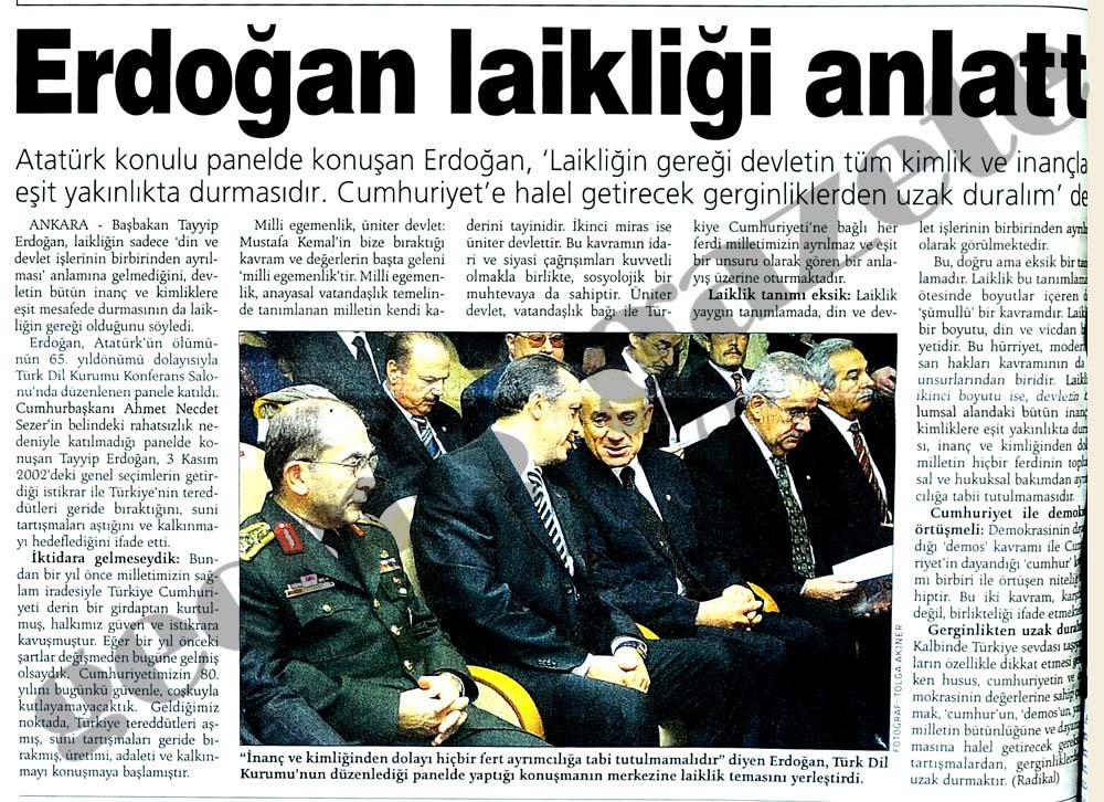 Erdoğan laikliği anlattı