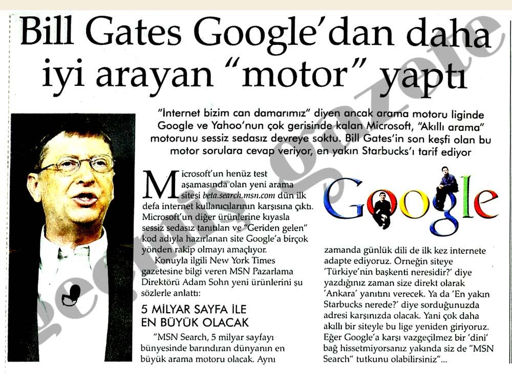 """Bill Gates Google'dan daha iyi arayan """"motor"""" yaptı"""