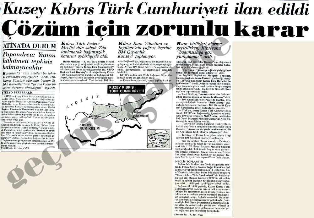 Kuzey Kıbrıs Türk Cumhuriyeti ilan edildi