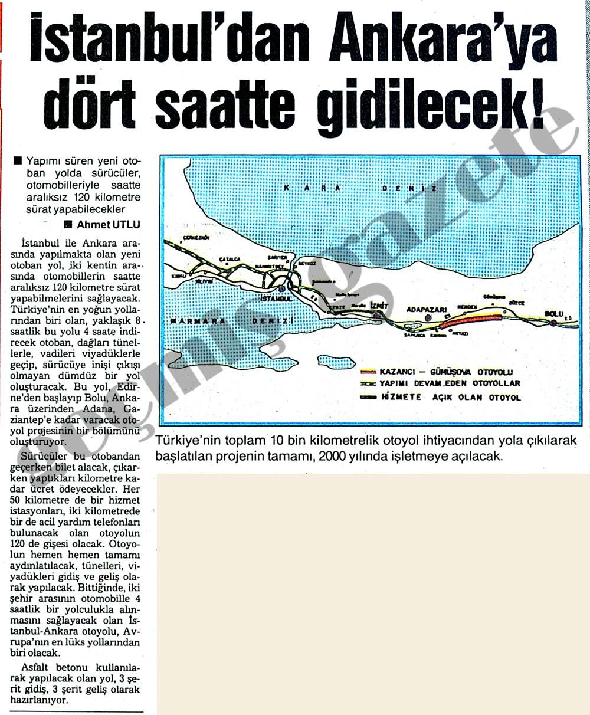 İstanbul'dan Ankara'ya dört saatte gidilecek!