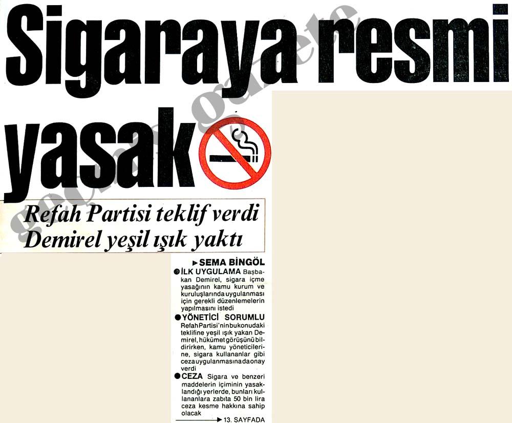 Sigaraya resmi yasak
