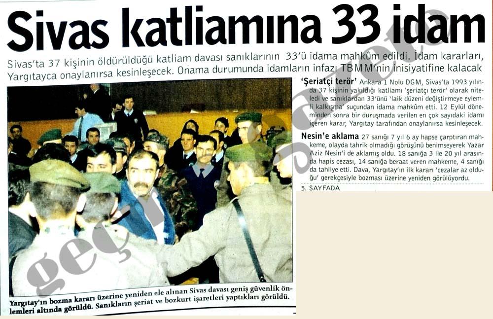 Sivas katliamına 33 idam