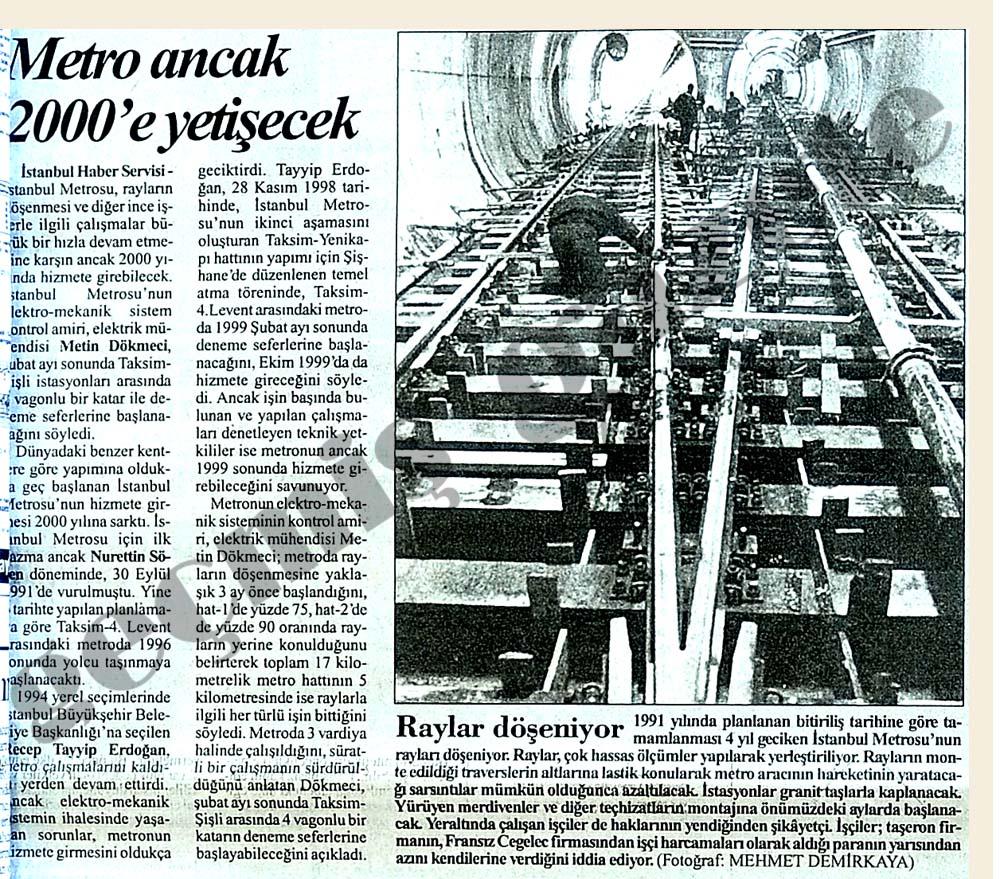 Metro ancak 2000'e yetişecek