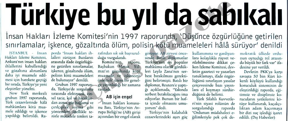 Türkiye bu yıl da sabıkalı