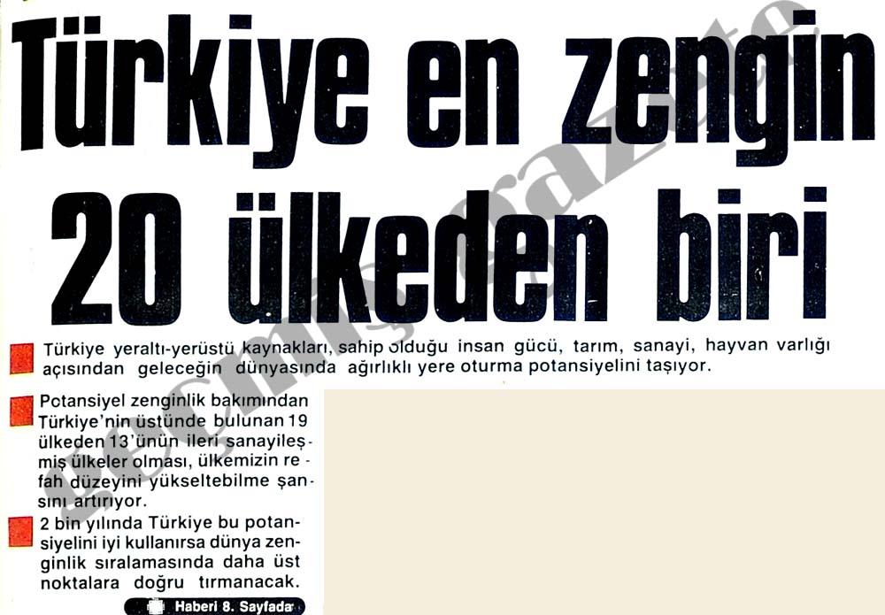 Türkiye en zengin 20 ülkeden biri