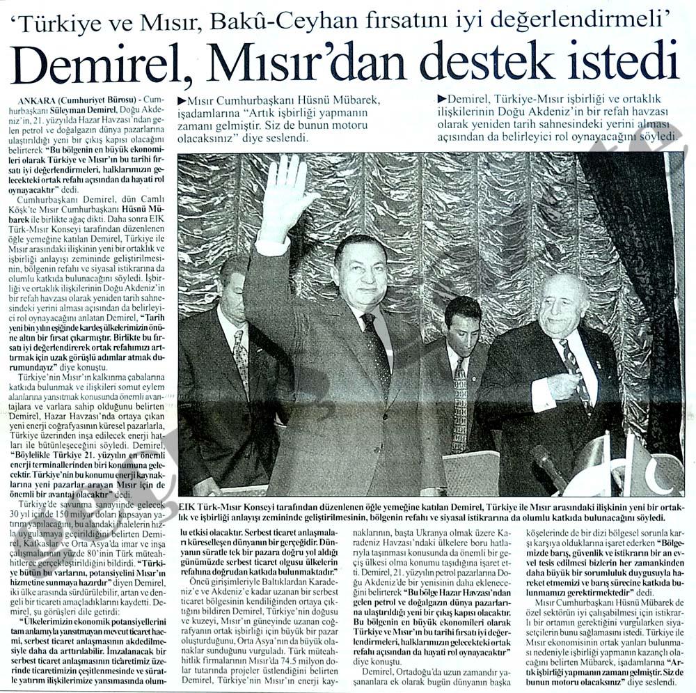Demirel, Mısır'dan destek istedi