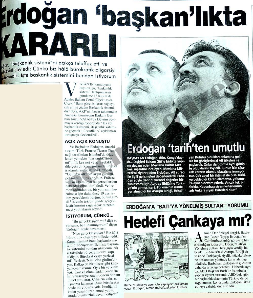 Erdoğan 'başkan'lıkta kararlı