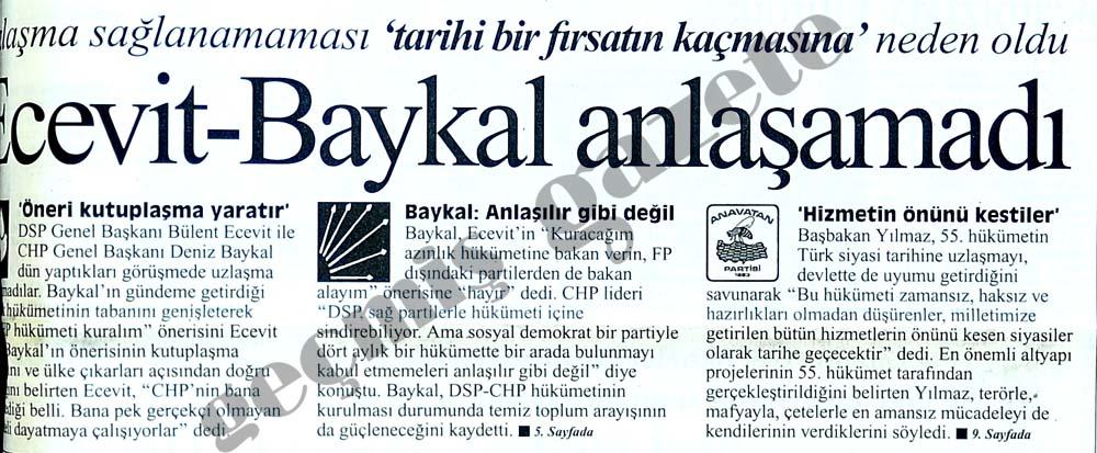 Ecevit-Baykal anlaşamadı