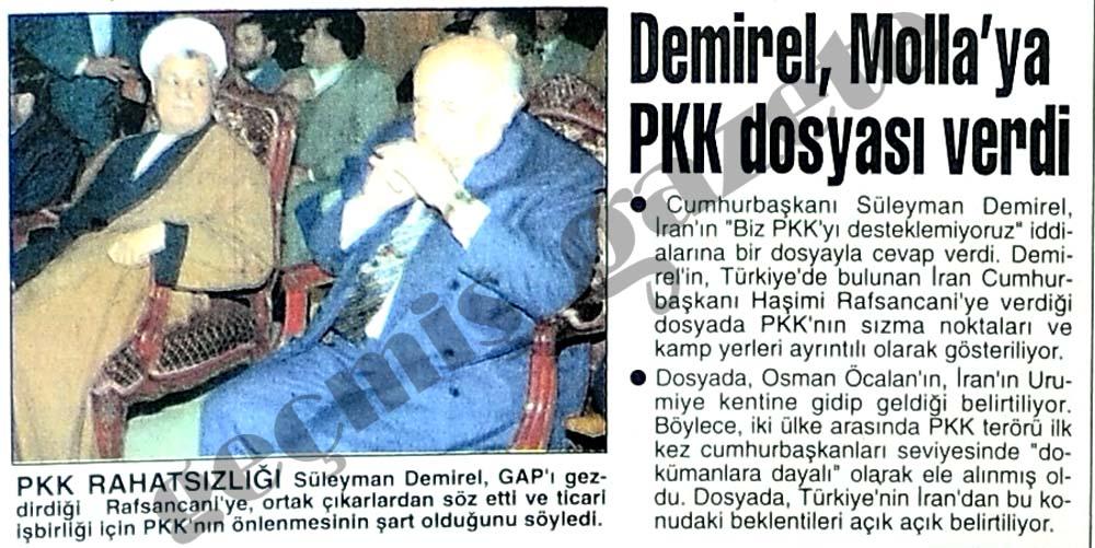 Demirel, Molla'ya PKK dosyası verdi