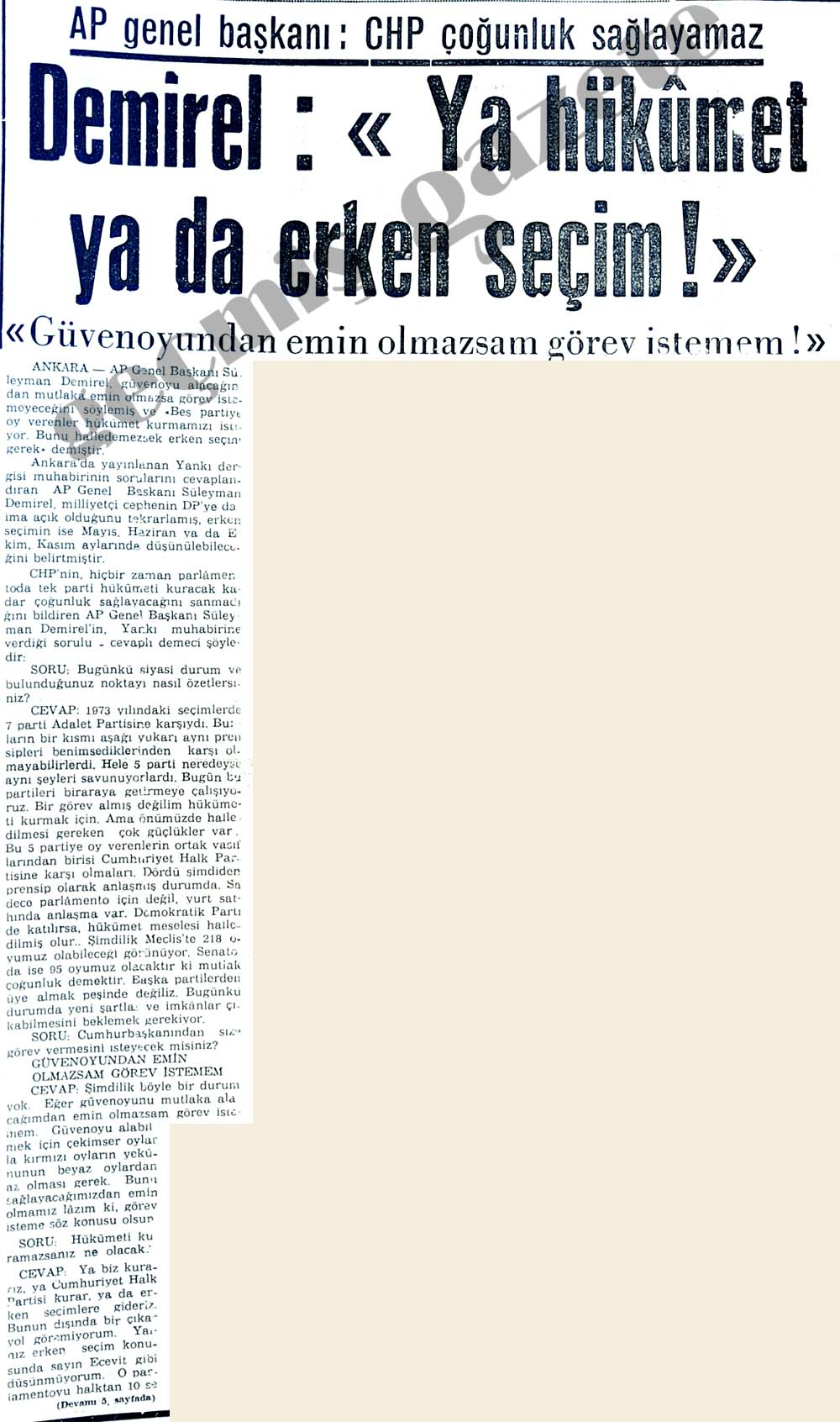 "Demirel: ""Ya hükümet ya da erken seçim! """