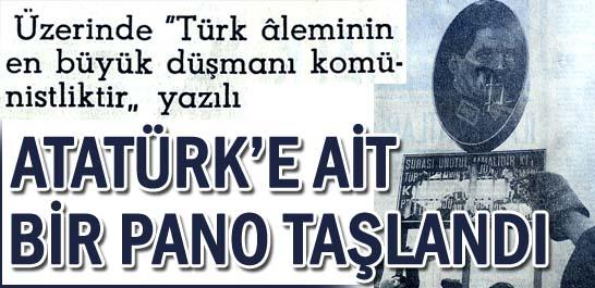 Atatürk'e ait bir pano taşlandı