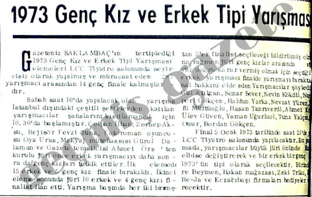 1973 genç kız ve erkek tipi ilk elemesi yapıldı