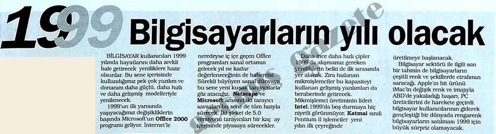 1999 Bilgisayarların yılı olacak