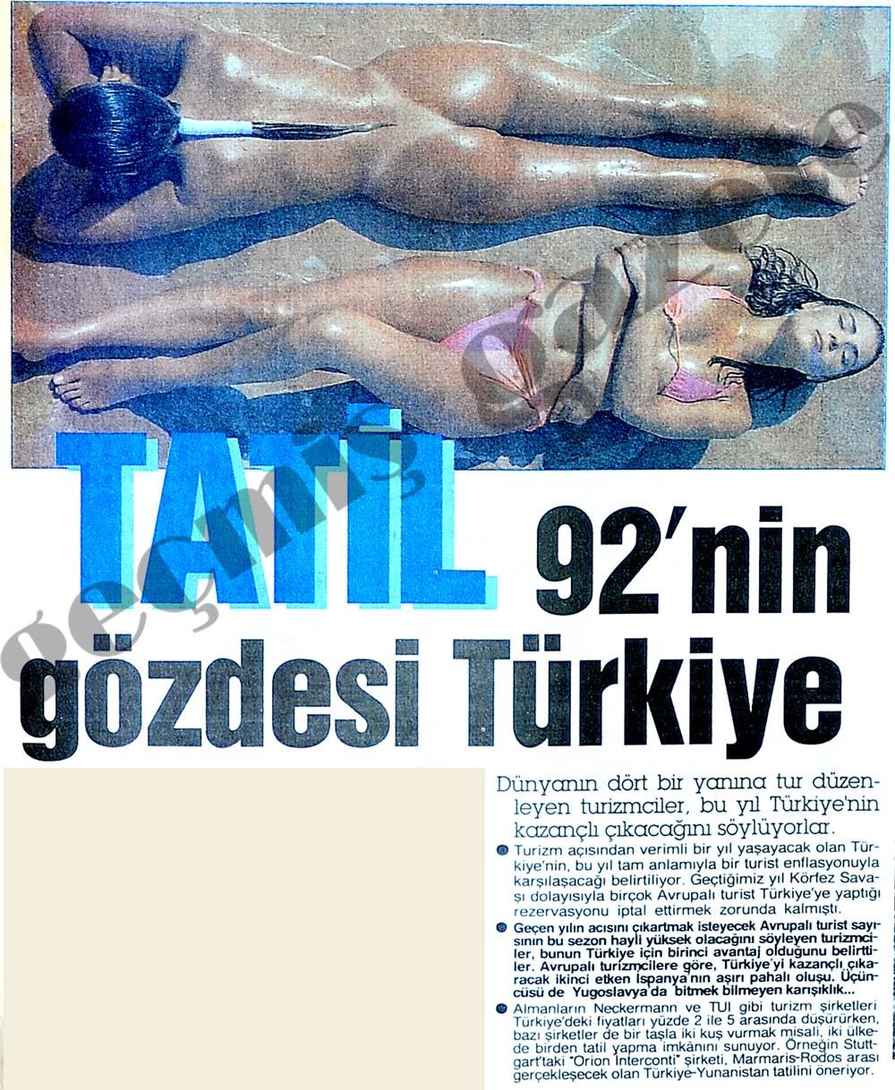 Tatil 92'nin gözdesi Türkiye