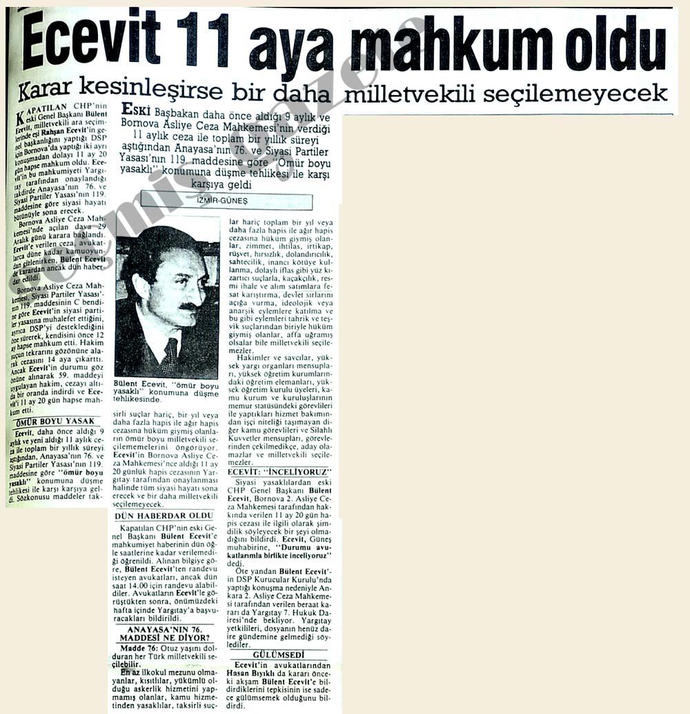 Ecevit'e 11 ay mahkumiyet