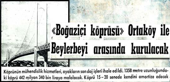 """""""Boğaziçi köprüsü"""" Ortaköy ile Beylerbeyi arasında kurulacak"""