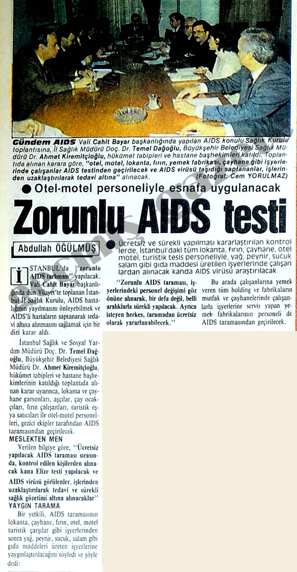 Esnafa AIDS testi