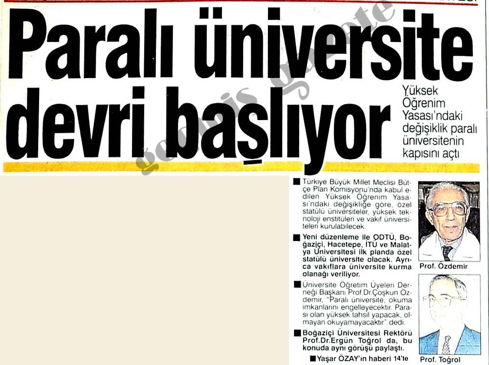 Paralı üniversite devri başlıyor
