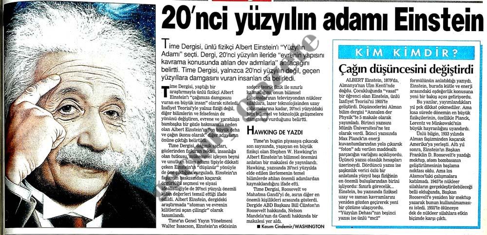 20'nci yüzyılın adamı Einstein