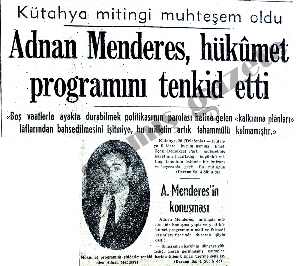 Adnan Menderes, hükûmet  programını tenkid etti