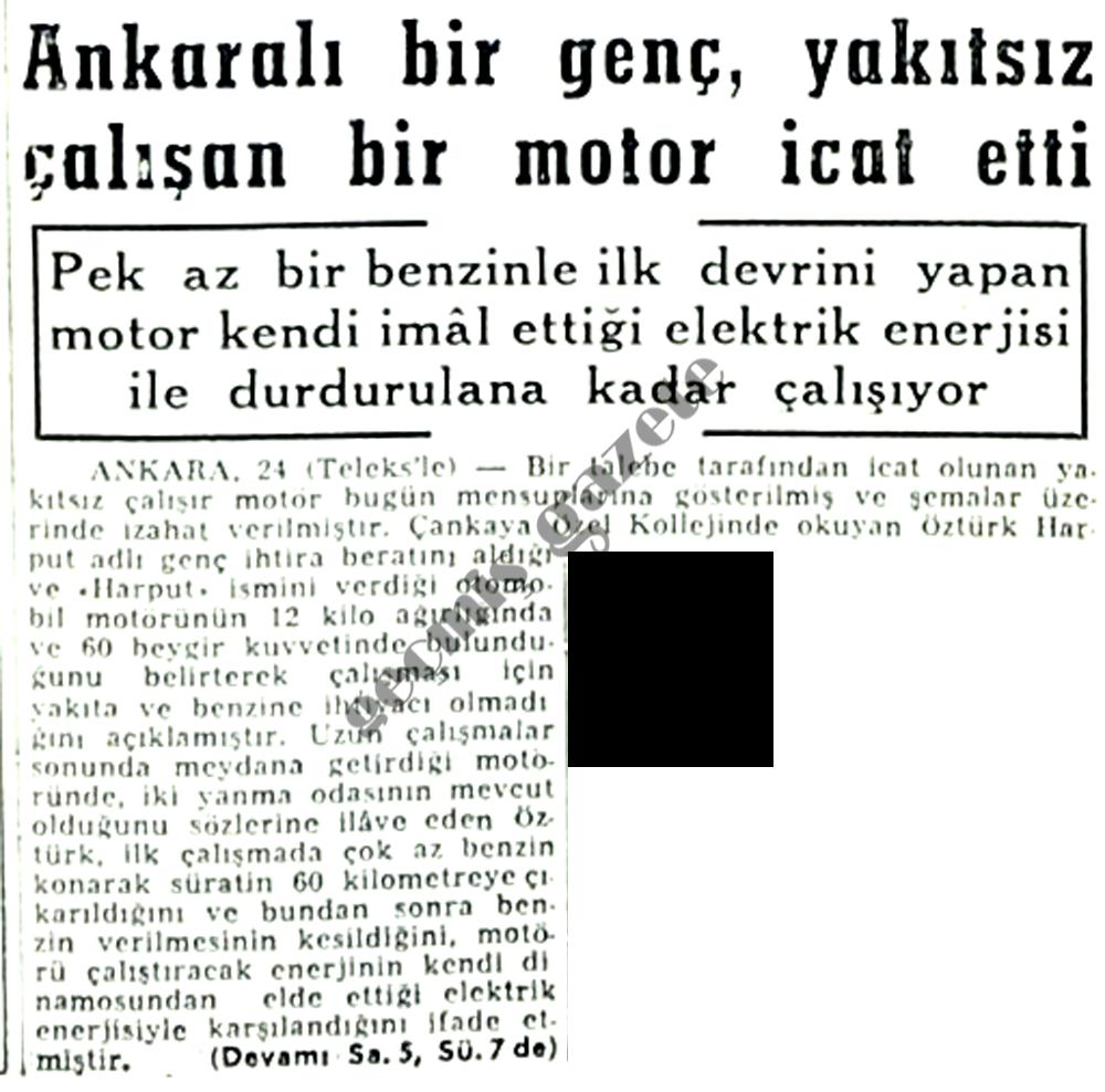 Ankaralı bir genç, yakıtsız çalışan bir motor icat etti