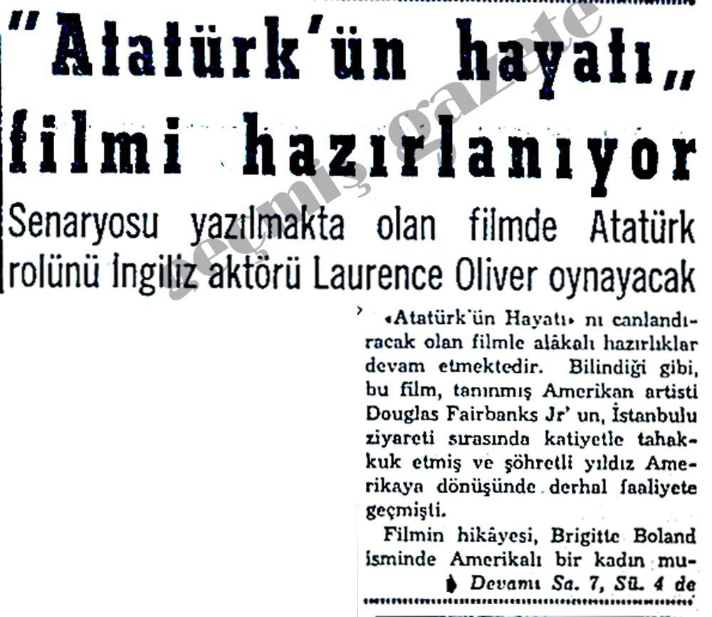 """""""Atatürk'ün hayatı"""" filmi hazırlanıyor"""