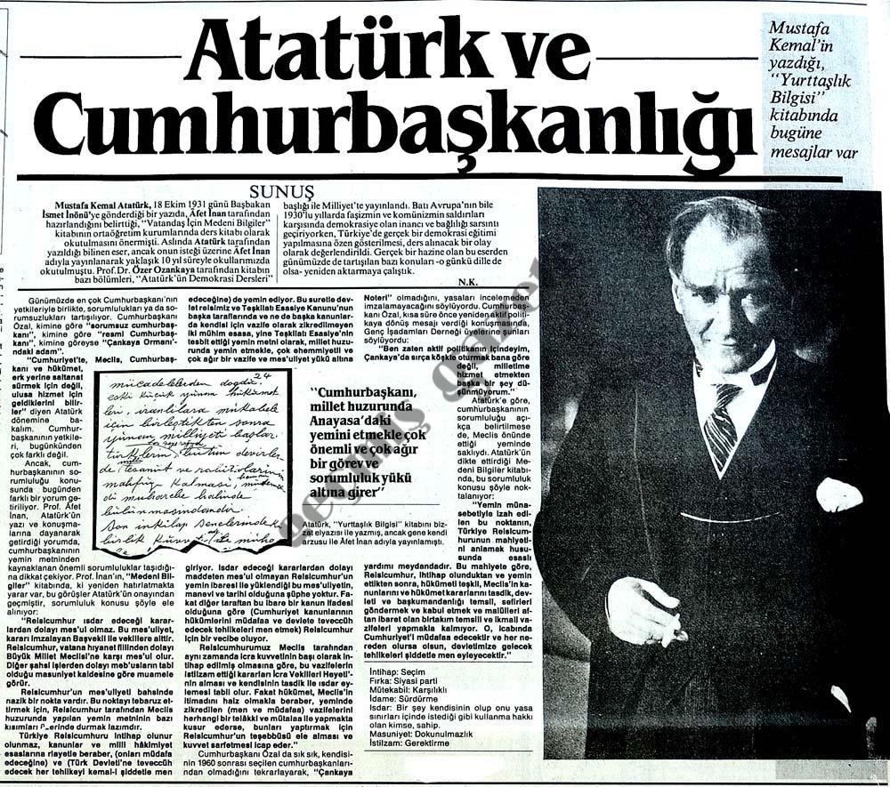 Atatürk ve Cumhurbaşkanlığı