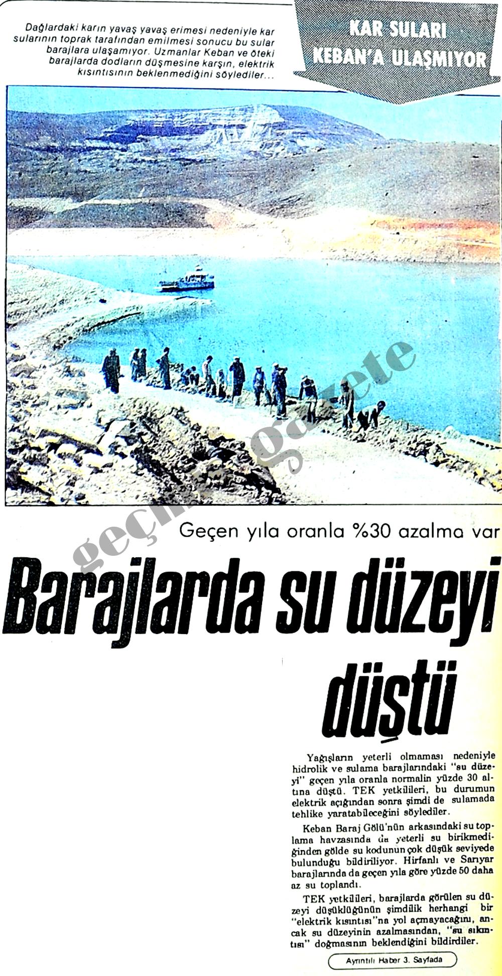 Barajlarda su düzeyi düştü