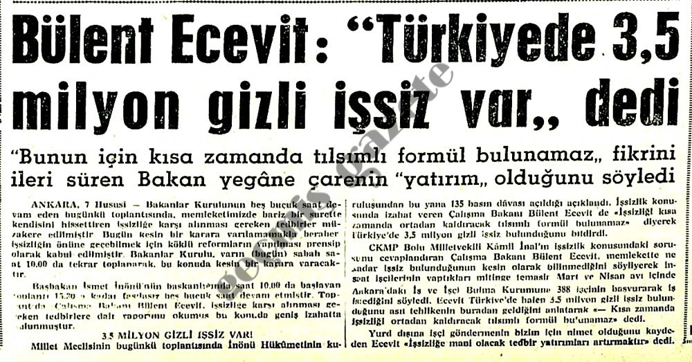 """Bülent Ecevit: """"Türkiyede 3.5 milyon gizli işsiz var"""" dedi"""