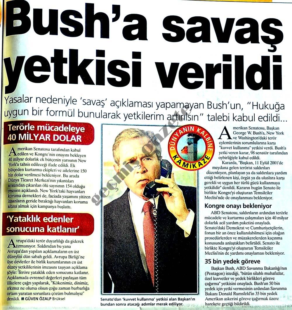 Bush'a savaş yetkisi verildi