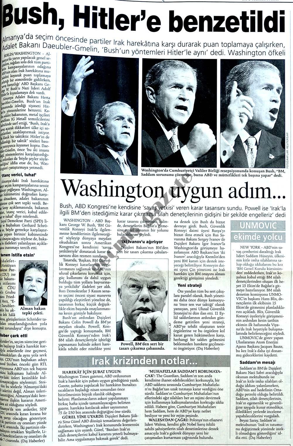 Bush, Hitler'e benzetildi