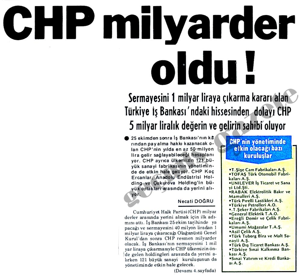 CHP milyarder oldu !