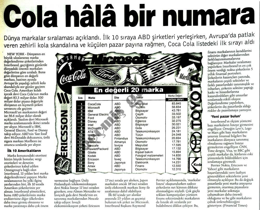 Cola hala bir numara