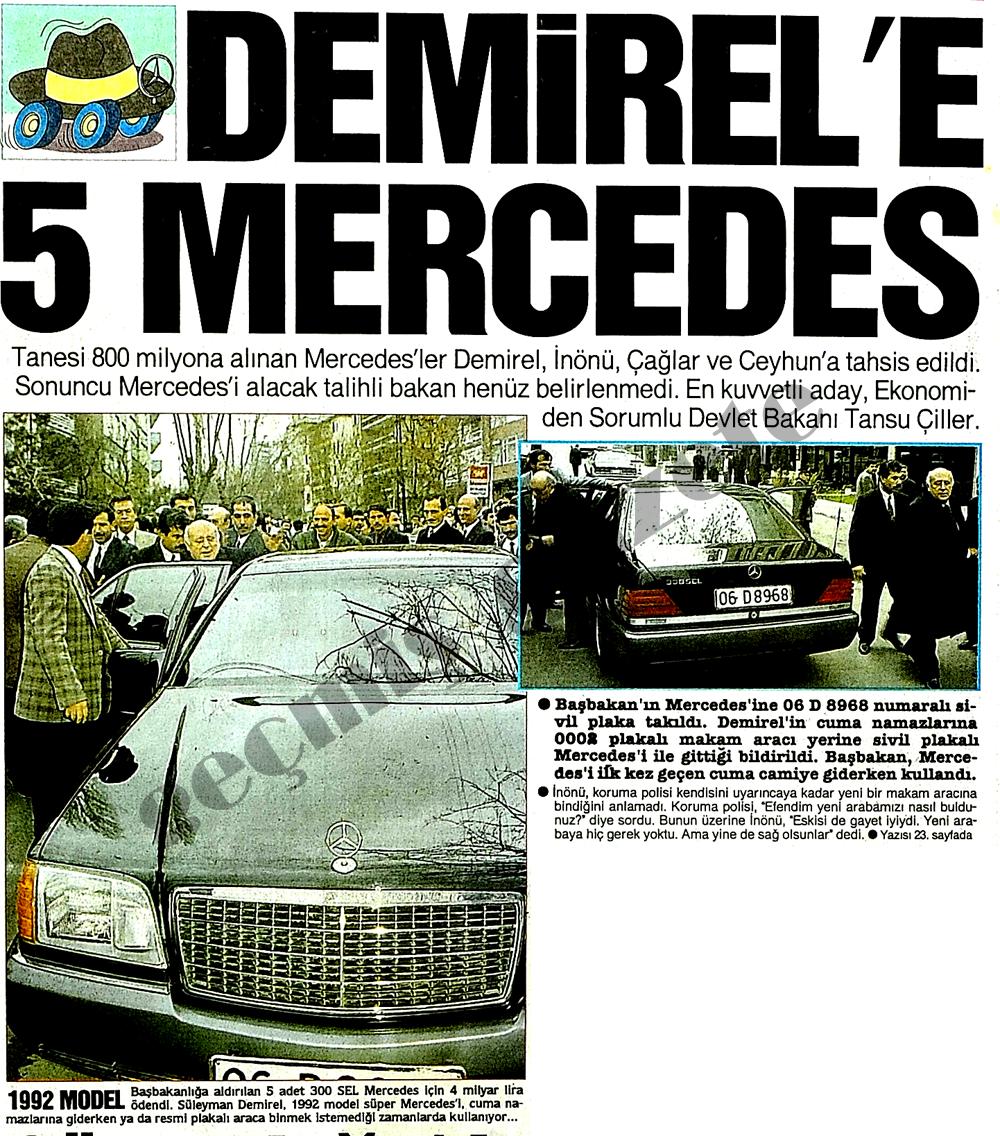 Demirel'e 5 Mercedes