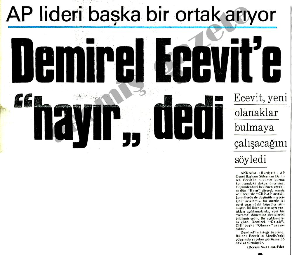 """Demirel Ecevit'e """"hayır"""" dedi"""