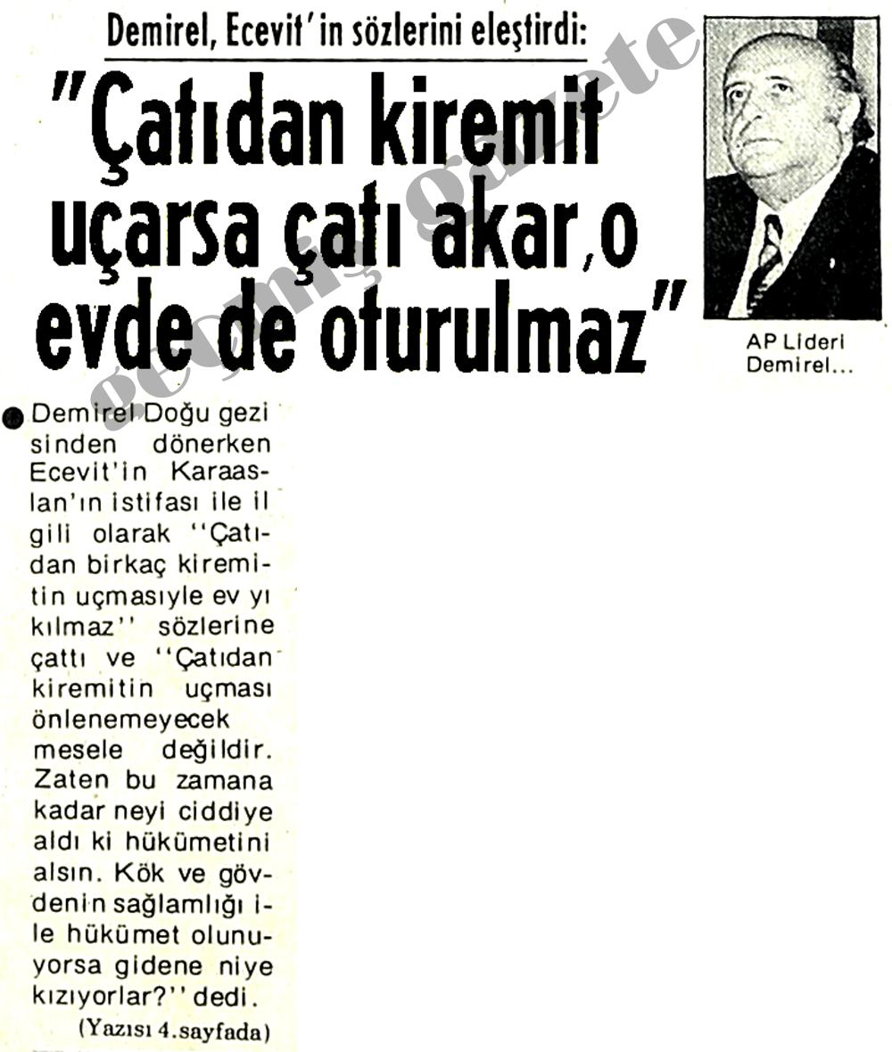 Demirel, Ecevit'in sözlerini eleştirdi: